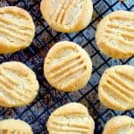 almond flour shortbread on a black cooling rack