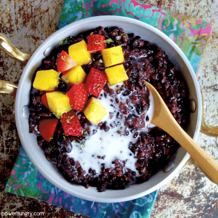 Coconut Black Rice Pudding {5 ingredients, vegan}