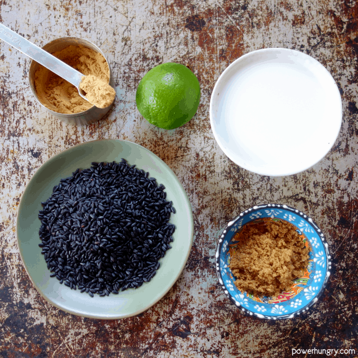ingredients for coconut black rice pudding