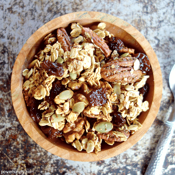 oil-free granola in a wooden bowl