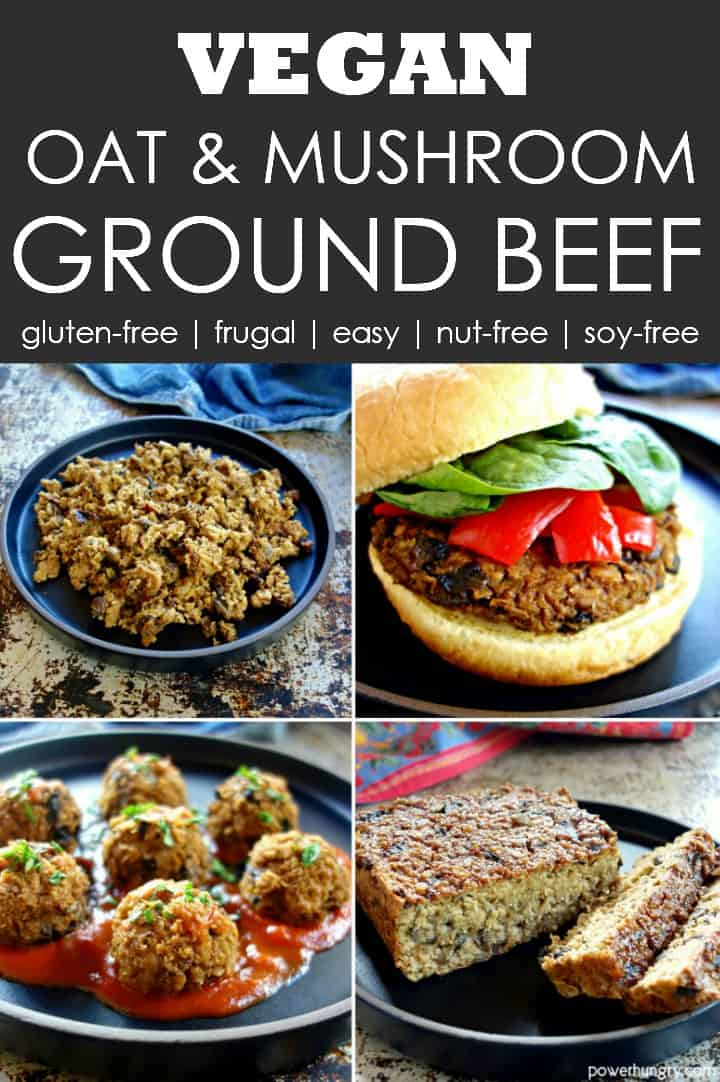 collage of 4 ways to prepare vegan oat ground beef