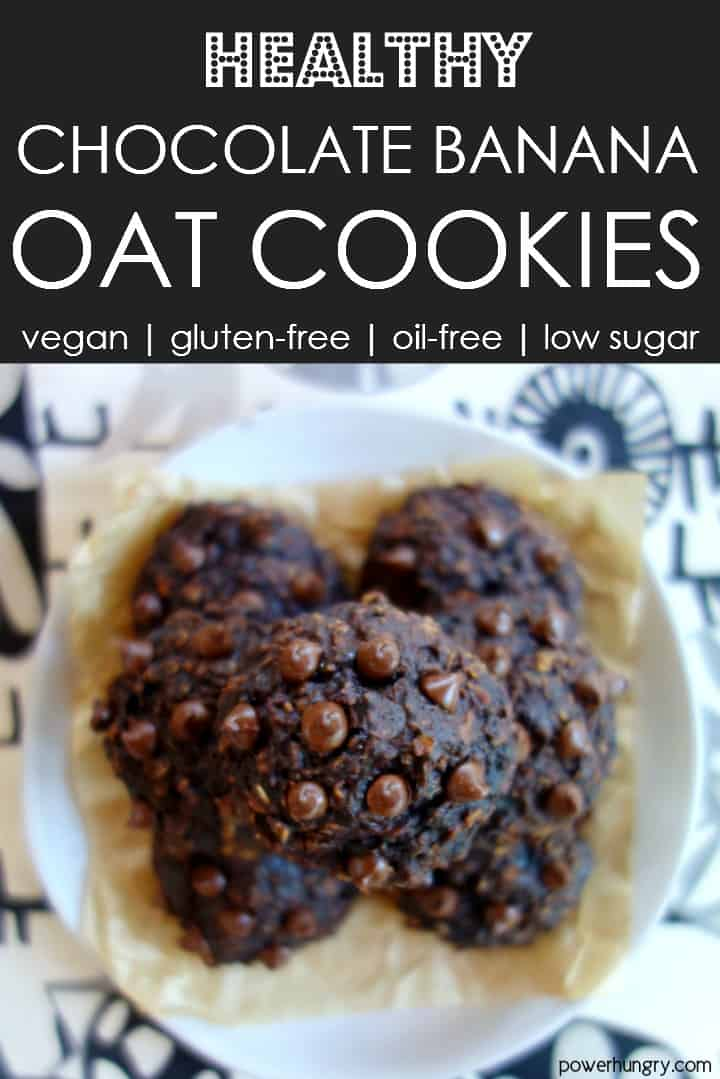 Chocolate banana oat cookies on a plate