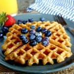 vegan oat waffle on a plate topped with blueberries