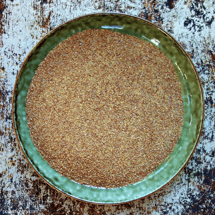 overhead shot of a bowl of flaxseed meal