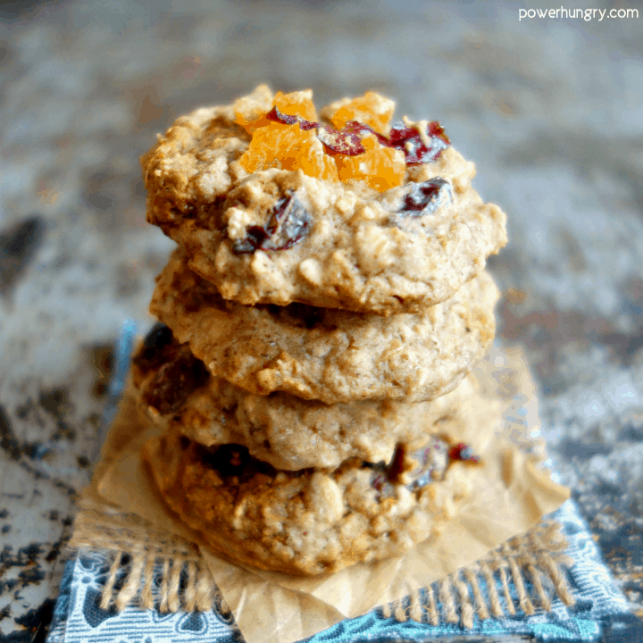 Stack of Overnight Oatmeal Cookies {vegan, gluten-free, oil-free}