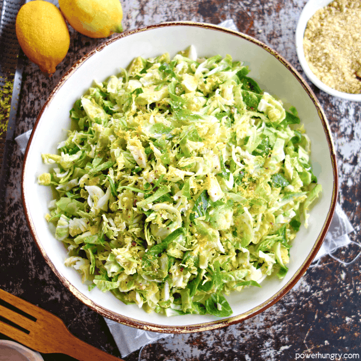 Lemony Brussels Sprouts Salad {3 ingredients, Vegan}