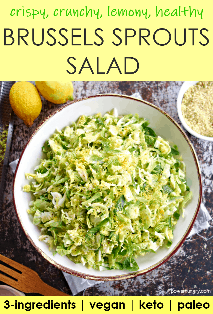 Bowl of Lemony Brussels Sprouts Salad, made with 3 ingredients, and vegan.