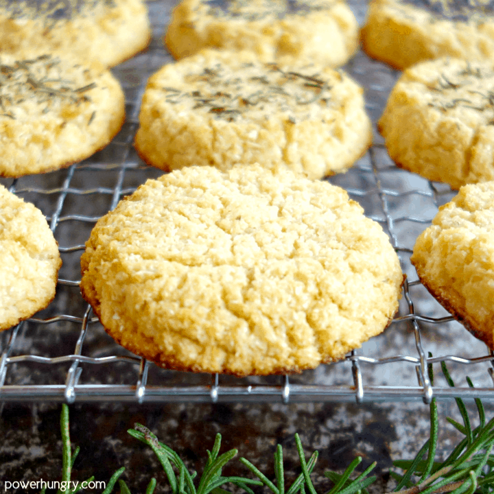 Grain-free and vegan cauliflower biscuits made with 4 ingredients on a cooling rack