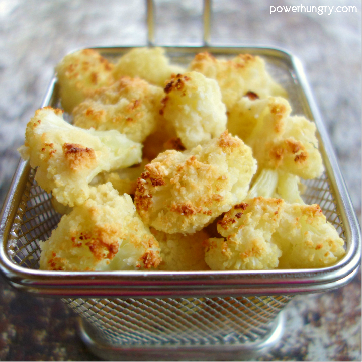 Small basket of almond flour cauliflower popcorn