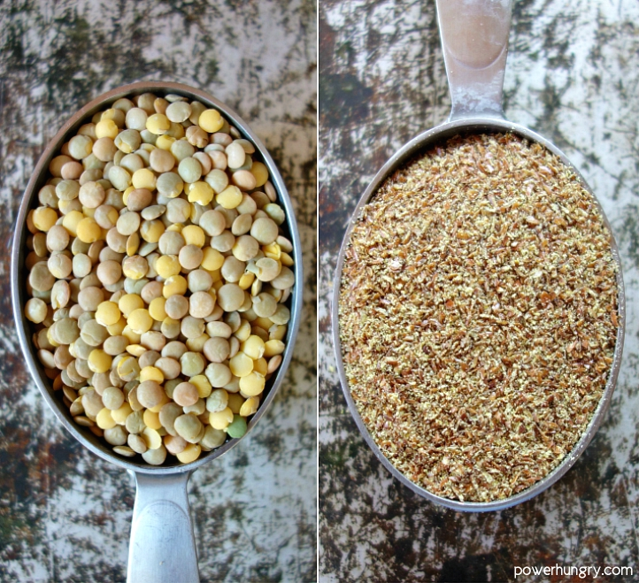 overhead photo of lentils and flaxseed meal for the lentil flax bread
