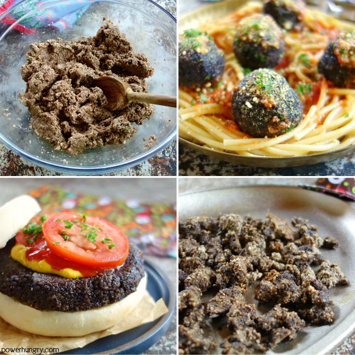 Collage of Mushroom Almond Flour Ground Beef Options