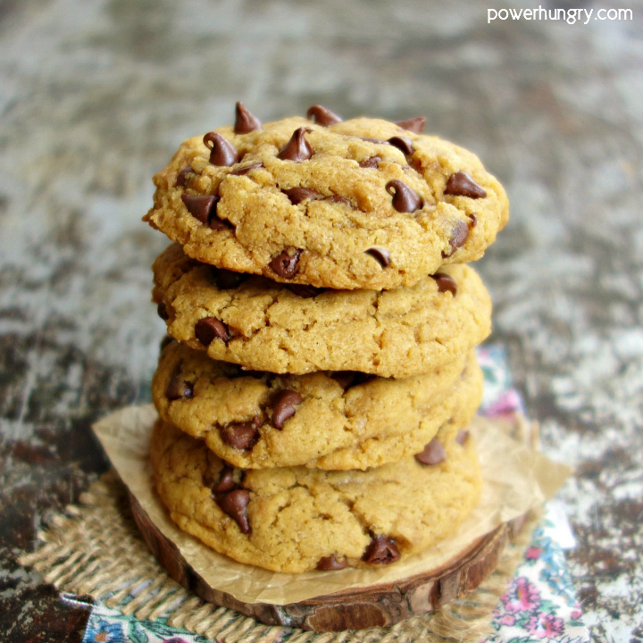 Stack of 4 chickpea flour chocolate chip cookies
