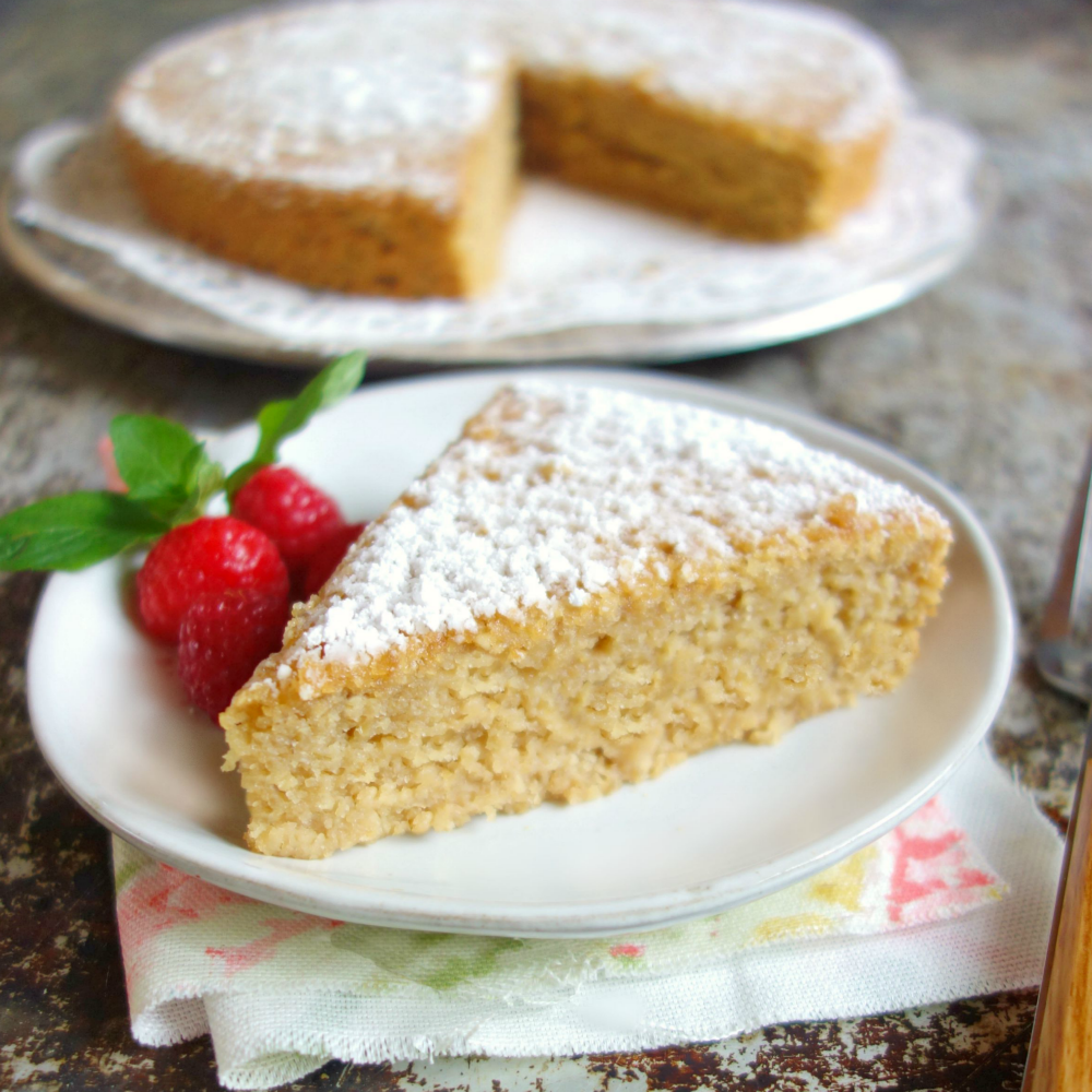vegan dessert recipe with almond flour Vanilla Almond Flour Cake vegan, oil-free