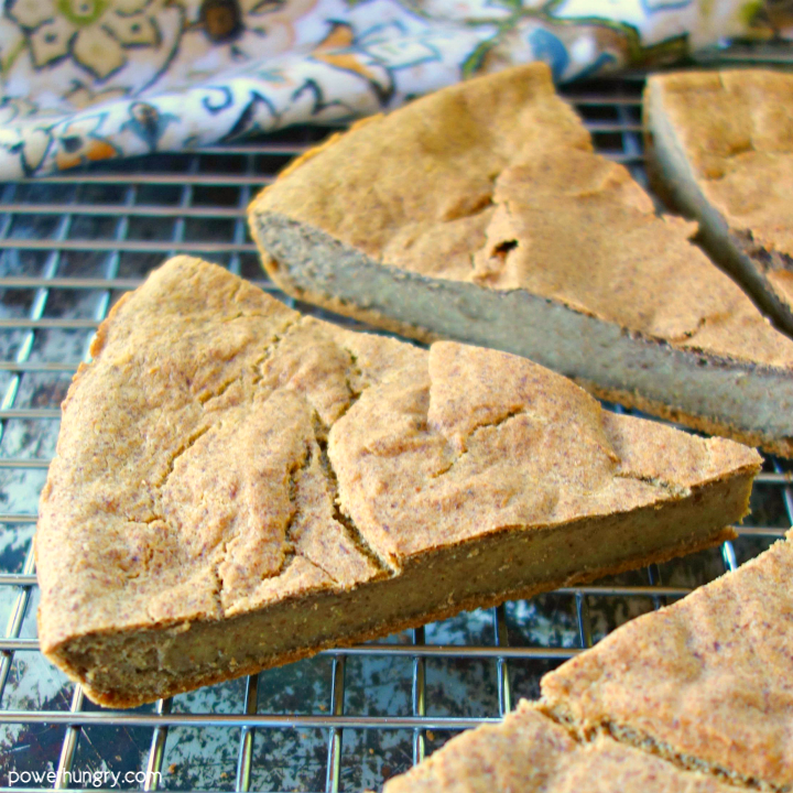 Sliced 2-Ingredient Lentil Flax Bread on a Wire Cooling Rack
