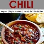 wooden bowl full of 3-ingredient black bean chili