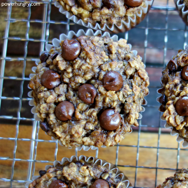 Overhead Shot of Peanut Butter Banana Baked Oatmeal Cups on a wire cooling rack
