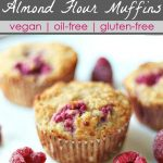 3raspberry almond flour muffins on a white plate with fresh raspberries