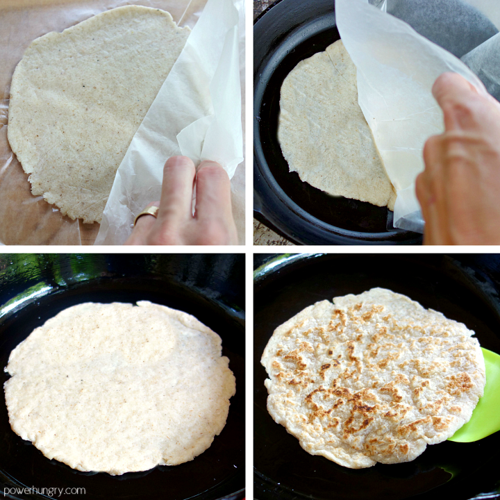 step by step photo collage of how to cook cocnut flour tortillas in a skillet