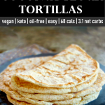 stack of 2-ingredient coconut flour tortillas on a slate plate.