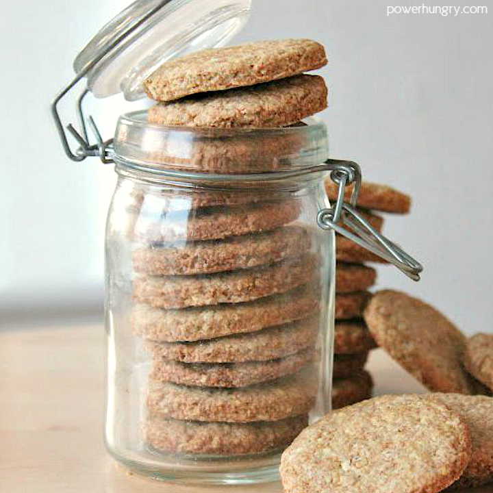 buckwheat almond shortbread stacked in a glass storage jar