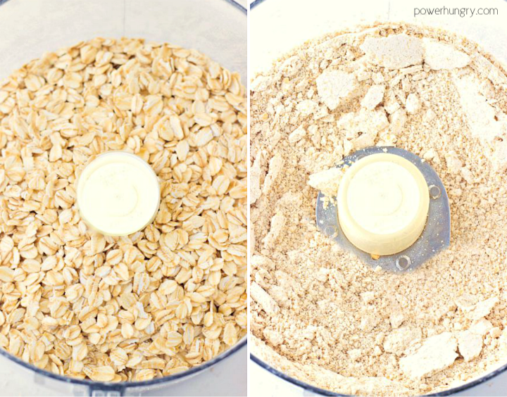 before and after photo collage showing a food processor with oats, which are then ground into oat flour