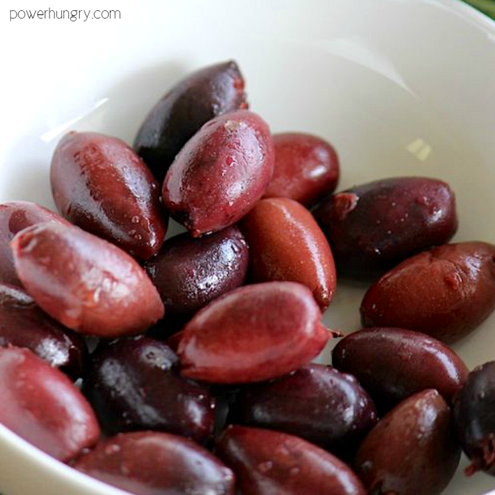 white bowl with kalamata olives
