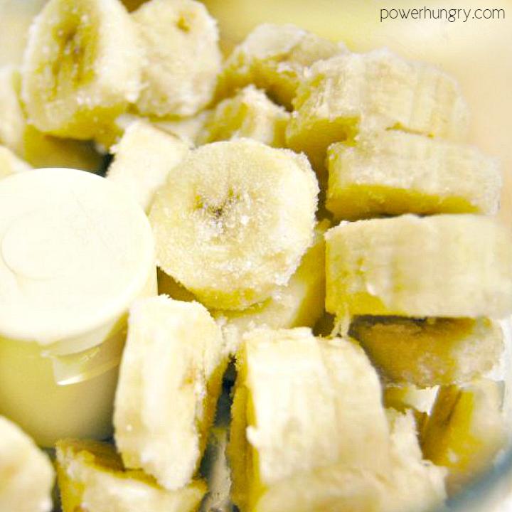 Frozne banana slices in a food processor