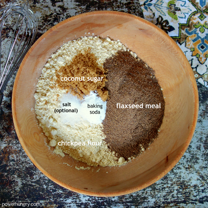 wooden bowl with the dry ingredients for chickpea flour flax sandwich bread