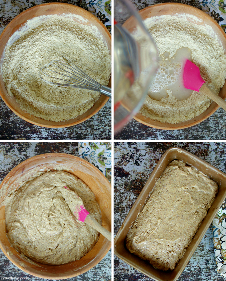 collage of 4 photos showing how to mix the batter for chickpea flour flax sandwich bread