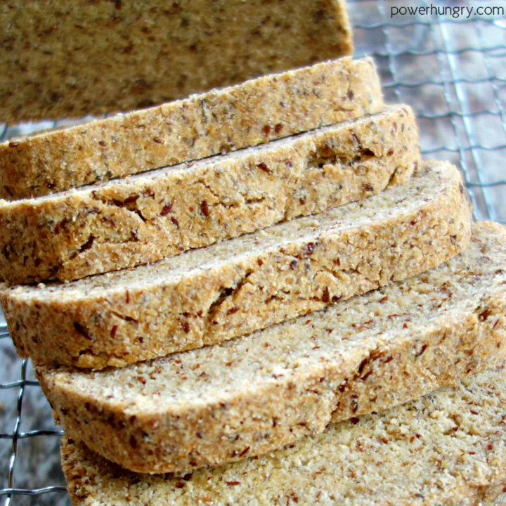 overhead close-up of slices of keto egg-free coconut flour bread