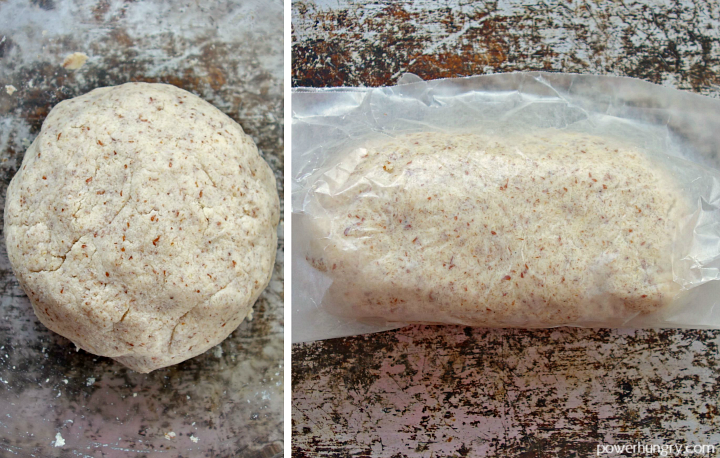 side by side phot collage of ball of coconut flour bread dough in glass bowl and the rolled into loaf shape with wax paper