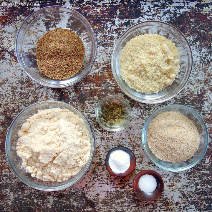 ingredinets laid out for coconut flour bread