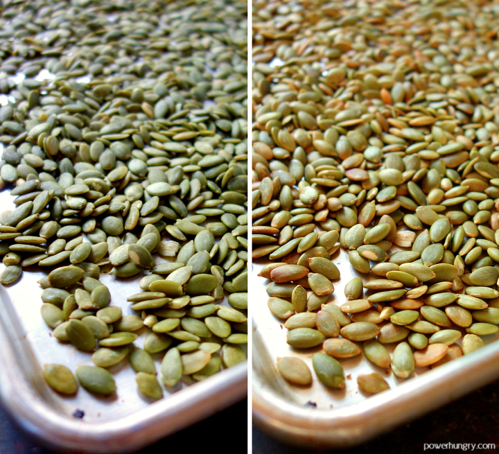 before and after pictures, side by side, of raw and roasted pepitas on a sheet pan