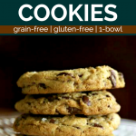 Stack of 4 Oil-Free Vegan Chocolate Chip Cookies o a glass plate