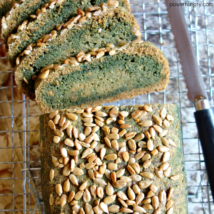 sunflower seed flour that is green from baking soda