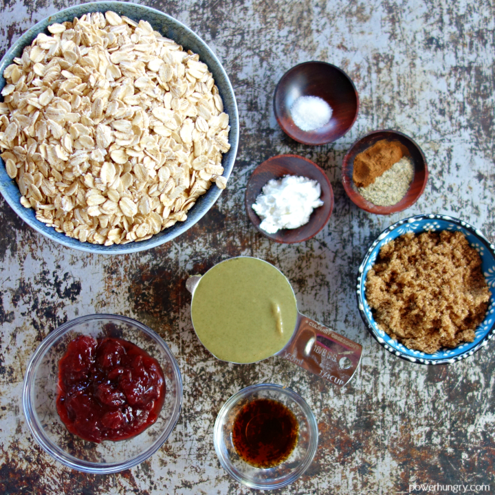 ingredients for making vegan oat thumbprints, laid out on a cookie sheet