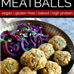 metal bowl filled with baked split pea meatballs and beet spirals