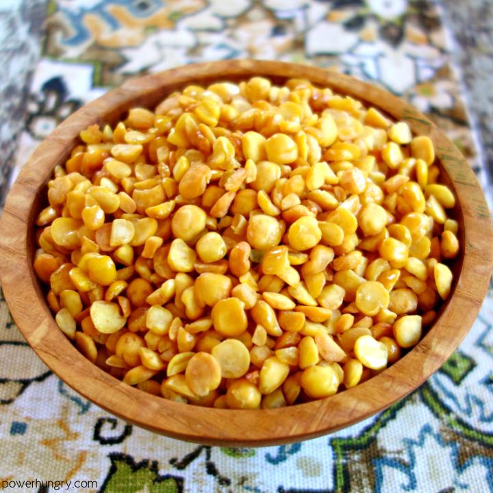 a bowl ful of crispy split pea nibbles