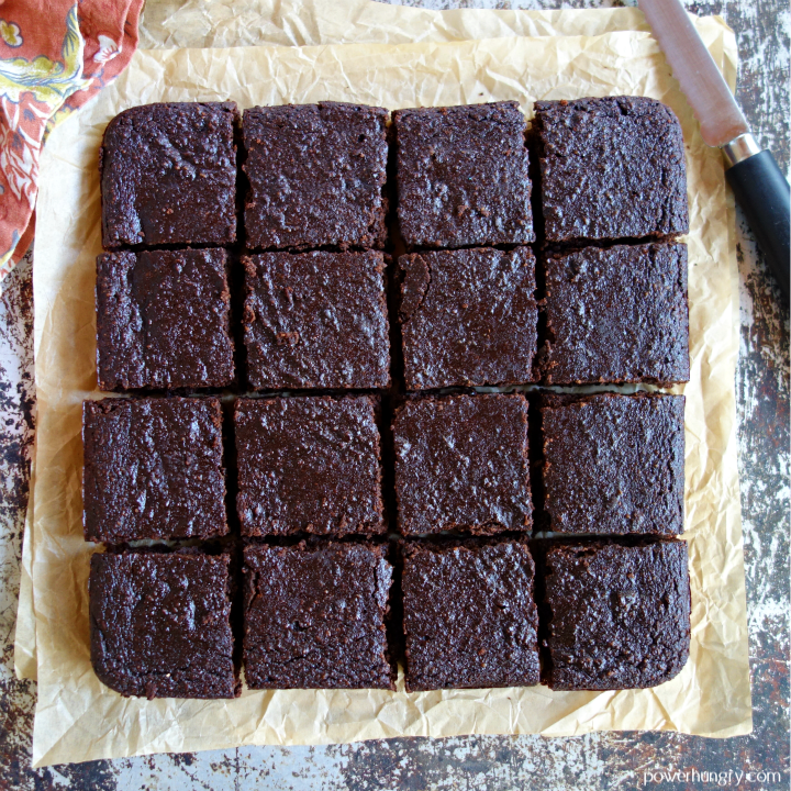 cooled vegan brownies, removed from the pan and cut into 16 squares