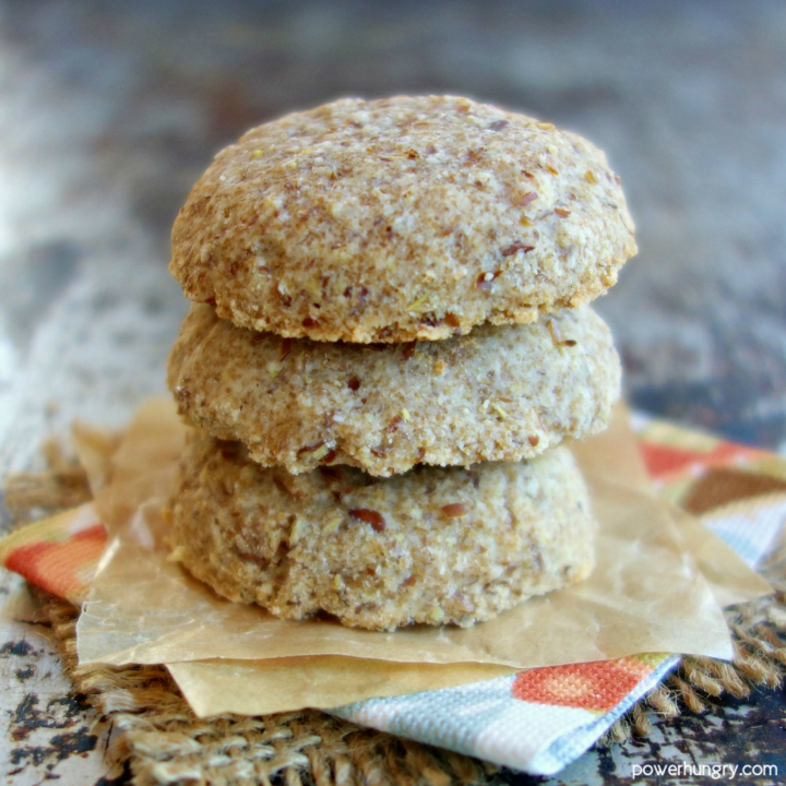 stack of 3vegan coconut flour cookies on a colorful napkin