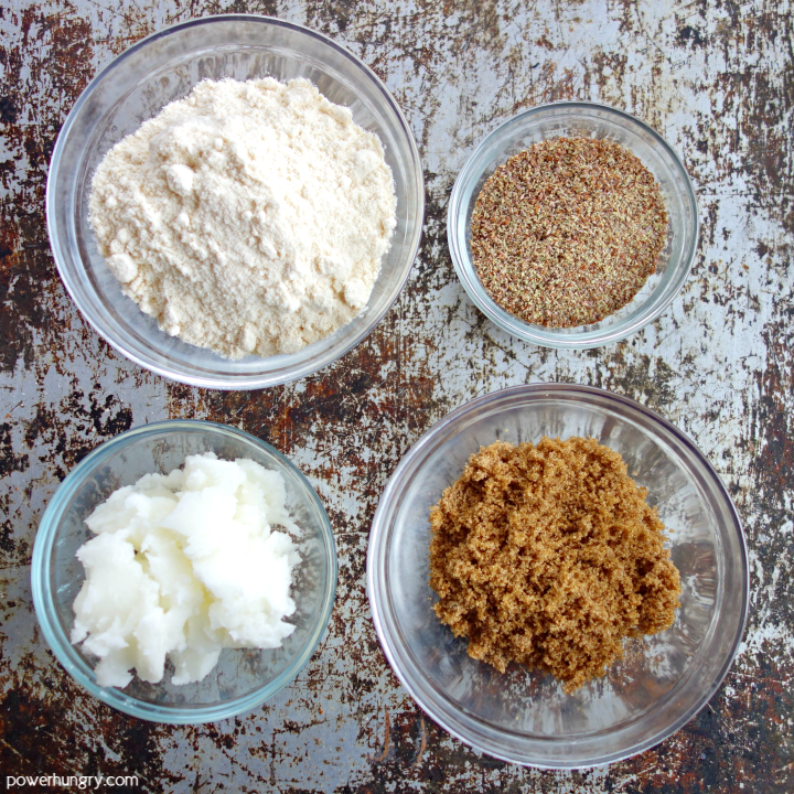 overhead shot of the 4 ingredients needed to make coconut flour cookies