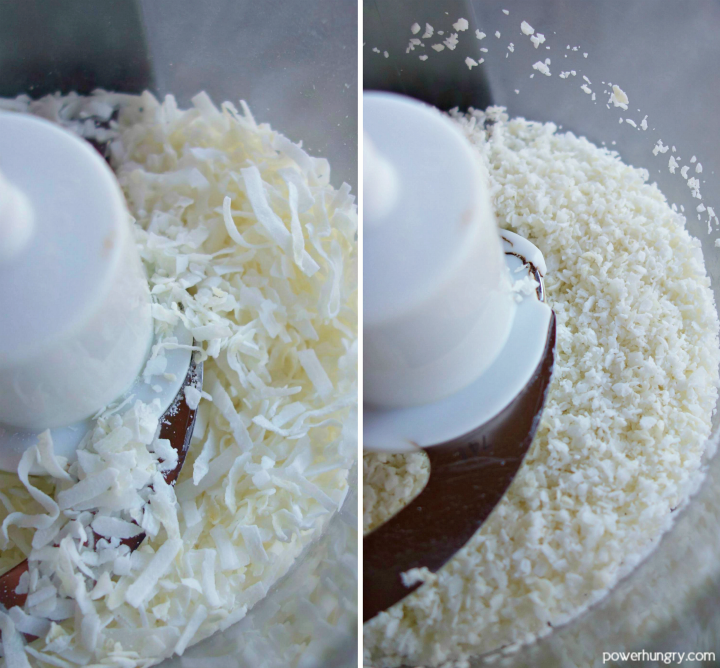 2 photo collage of unsweetened coconut flakes, before and after grinding in a food processor