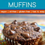 close-up of a vegan chocolate muffin with the paper peeled back
