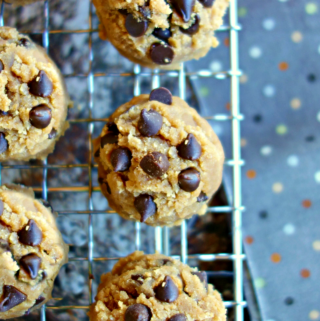 no bake cookie dough portions on a wire rack