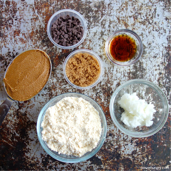 overhead shot of the ingredients for no bake coconut flour cookie dough