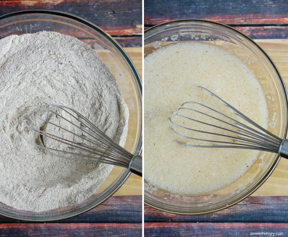2 photo collage of the wet and dry ingredients being mixed for gluten free buckwheat bread
