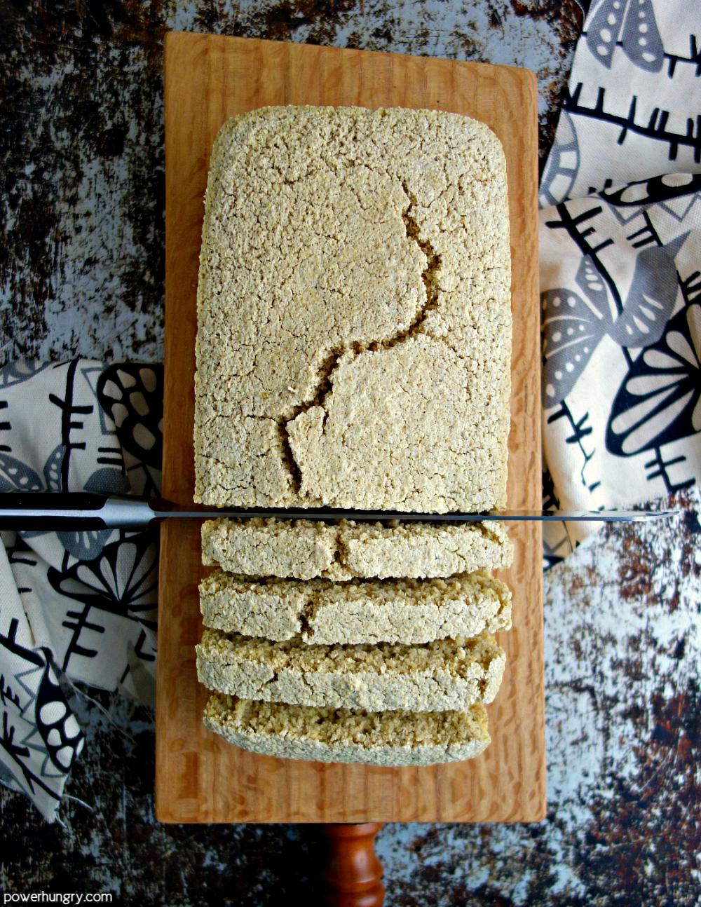 gluten free cegan oat bread on a cutting board
