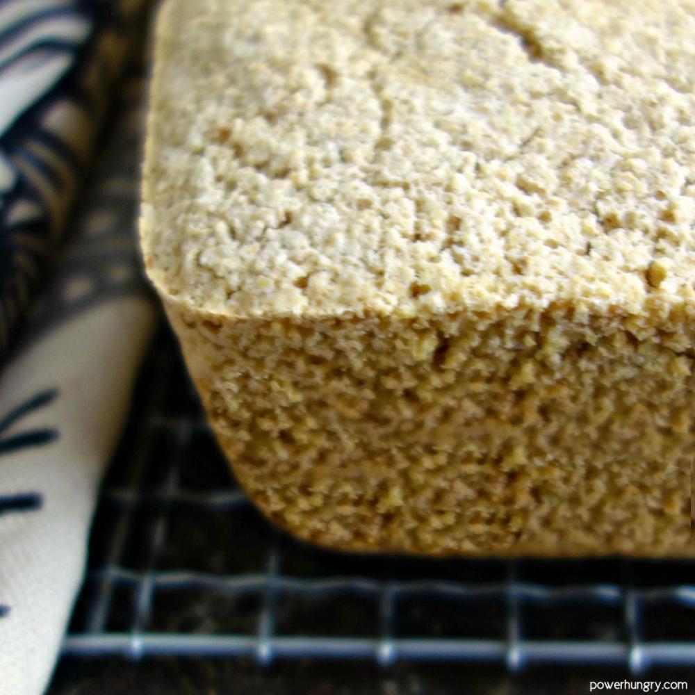 close up of corner of vegan bread loaf