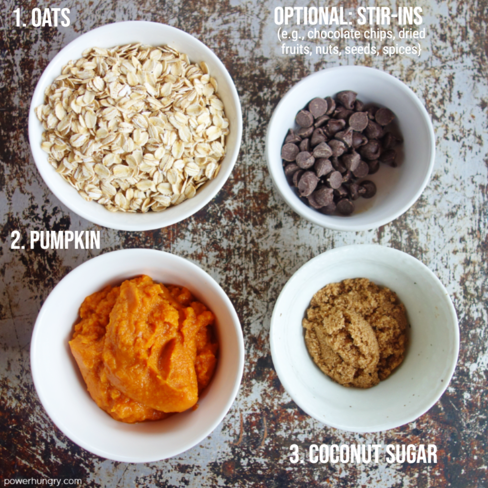ingredients for the pumpkin cookies, all in white bowls