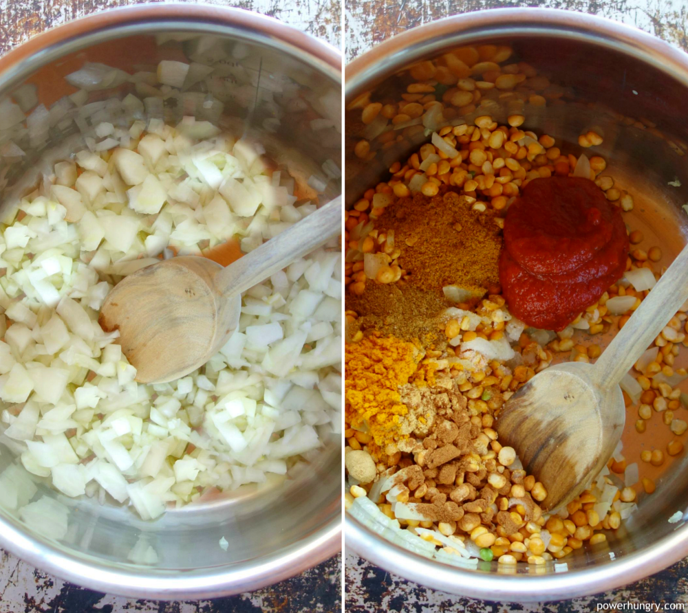 two picture collage of chopped onions and onions with peas and spices added